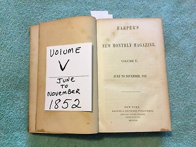 ANTIQUE Harpers Weekly Monthly Magazine VOL. V 1852 BOUND BOOK 1/2 LEATHER RARE