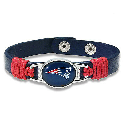 NFL American Football Adult Adjustable Leather Snap Bracelets