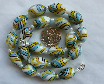 Vintage Style Yellow Blue  Feather Art Glass Bead Necklace