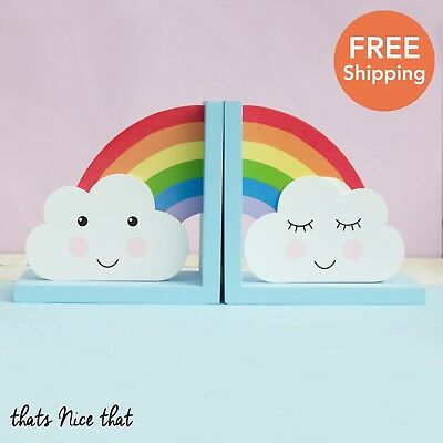 Rainbow Bookends Home Gift Book Ends Kids Room DVD Holder Clouds Fun Story Books