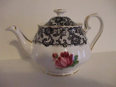 Royal Albert Senorita Teapot 16oz 2 cup size left decal rose bud on both sides