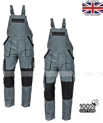 Mens Work Trousers Bib and Brace Dungarees Overalls Grey Style MAX 100% Cotton.