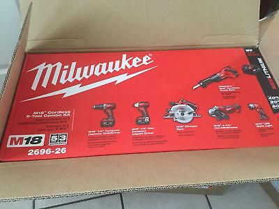 Milwaukee M18 18-Volt Lithium-Ion Cordless Combo Kit (6-Tool) 2696-26 *BRAND NEW