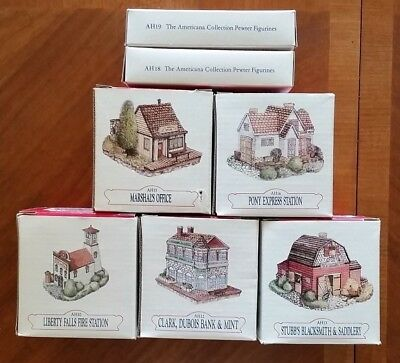 Vintage 1992 Liberty Falls Collection Americana Lot 5 Buildings 2 figurines
