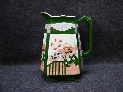 Antique Ironstone Pitcher 1800s Hand Colored Transfer w Green Oriental Influence
