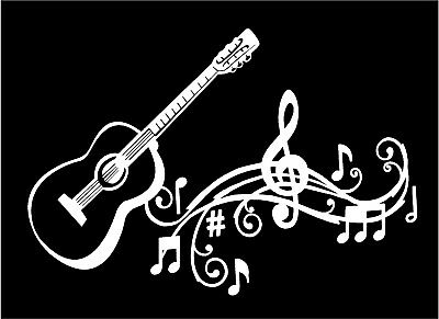 Guitar Decal Musical Staff Notes Vinyl Car Truck Window Laptop Sticker