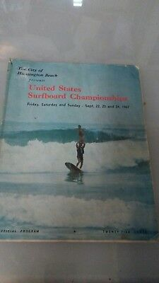 Vintage Surfing 8x11in. Huntington Beach 1967 U.S. Championships Contest Program
