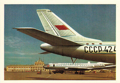 ca 1963 Russian postcard FLAG OF THE USSR on Soviet planes is known around