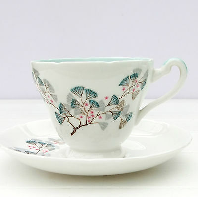 Vintage 1950s Tuscan Plant Juniper Bone China Tea Cup Saucer Duo