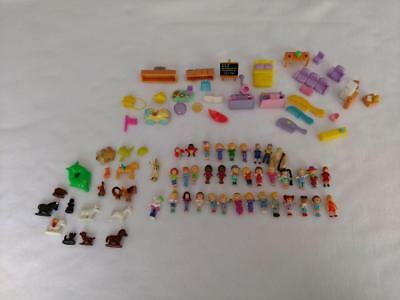 Vintage BlueBird Polly Pocket People Horses Cats Dogs Car Furniture 82 PIECE LOT