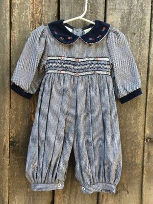 Vintage 80s 90s navy blue Houndstooth baggy smocked Romper Size 3-6mos