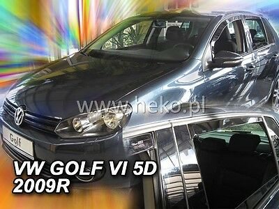 VW Golf MK6  Yrs 09-12  4 Piece Tinted Wind Deflectors Front & Rear Doors Visors