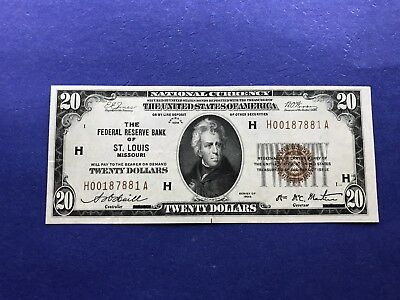 **UNCIRCULATED-St. Louis,Missouri** $20 1929 Federal Reserve Bank Note