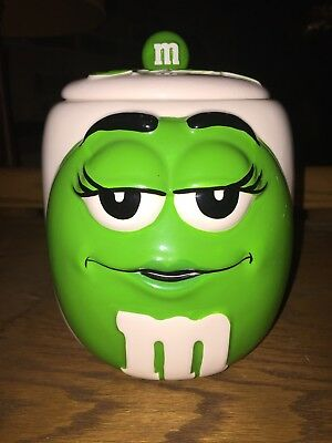 "Green Lady M&M Ceramic 6.5"" Cookie Candy Jar/ Canister By Galerie"