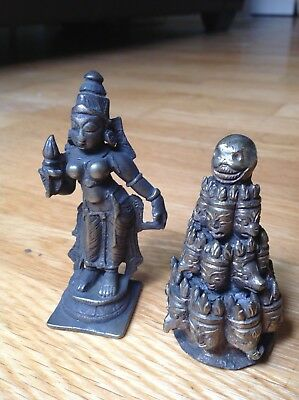 Two Bronze Antique Asian Figures Statues , Thai ? Burma ?