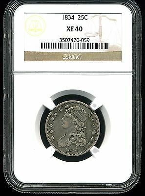 1834 25C Capped Bust Quarter Dollar XF40 NGC