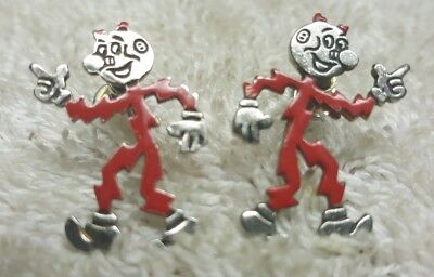 Vintage Reddy Kilowatt Screw Back Earrings Electric Power Advertising Mascot