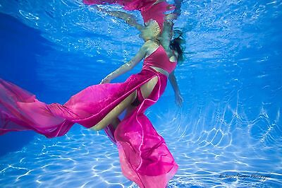 Maternity Pregnancy Photo Shooting Outfit Gown Cover Set Pink Ombre