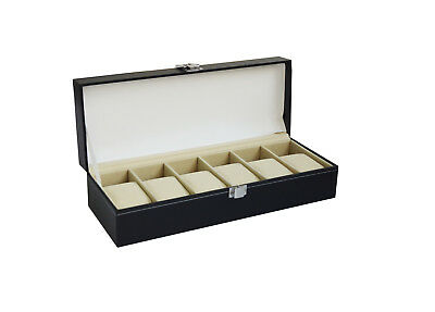 6 Slot Mens Watch Display Case Box Black PU Leather