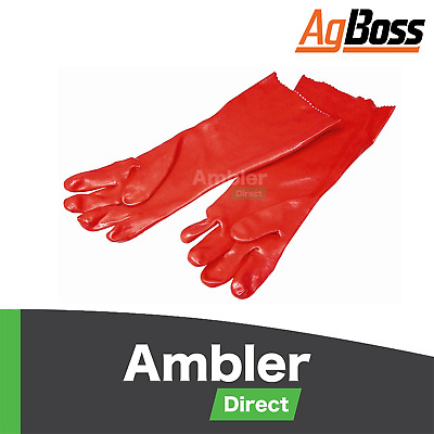 AgBoss PVC Chemical Resistant Safety Glove 45cm Red Single Dip Gloves Size 10 La