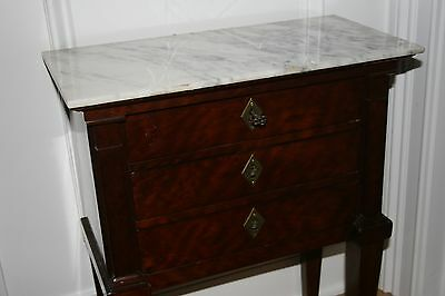 Antique French Rosewood Marble Topped Jewelry Chest 19th Century