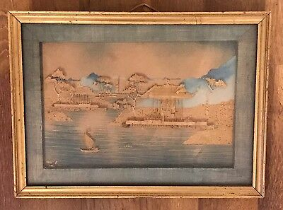 Antique/vintage Old Chinese Oriental Hand Made Picture & Watercolour