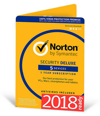 Norton Internet Security DELUXE 2018 5 Device 5 PC 1Year PC MAC Android 2017