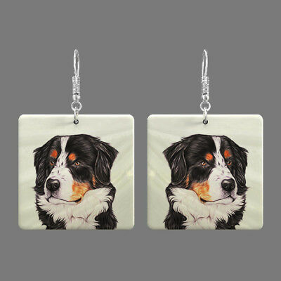 Natural Mother of Pearl Shell Dog Earrings Square Drop Jewelry S1706 0028
