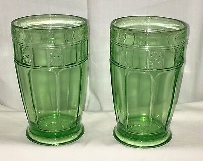 "2 Jeannette DORIC GREEN* 5""- 12 oz FOOTED TUMBLERS* HARD TO FIND*  Set 2*"