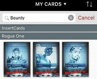 TOPPS Digital Star Wars Card Trader: Rogue One Bounty Hunters Set: Wanted by the