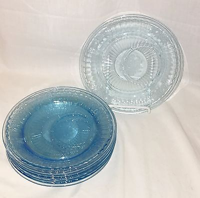 """7 Anchor Hocking MAYFAIR/OPEN ROSE BLUE *6 1/2"""" ROUND PLATES w/OFF CENTER RING*"""