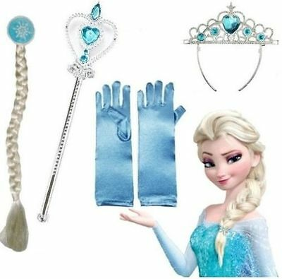 Girl Frozen Anna Elsa Tiara Crown Wig Magic Wand Gloves 4Pcs Set Accessories Cos