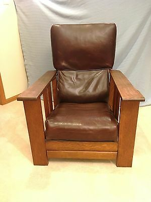 Morris Type Chair Antique Oak Reclining Back with Drawer Like Foot Rest