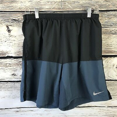 Men's Nike Running Dri Fit Black Blue Lined Athletic Shorts Size L