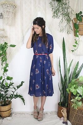 70s Bohemian Floral Dress, Navy blue Japanese Vintage Day dress, XS Small 4242