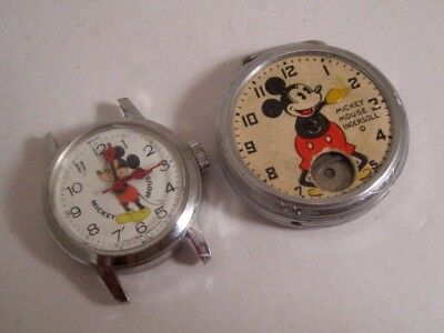 2 Vintage MICKEY MOUSE WATCHES FOR PARTS or REPAIR~BRADLEY~INGERSOLL