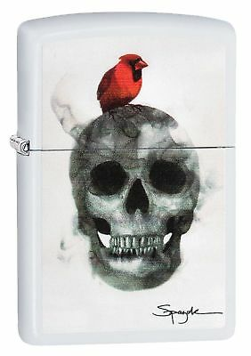 Zippo Windproof Flame Art Lighter by Spazuk With Skull & Robin 29644, New In Box