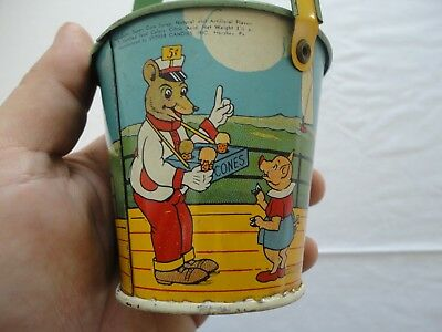 Small Antique Tin Litho Sand Pail - Stover Candies - Great Graphics! Nice!