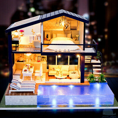 DIY Handcraft Miniature Dolls House My Little Villa In Trousdale Pl California