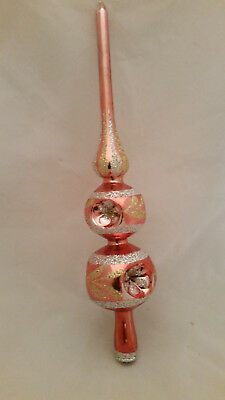 Vintage Pink Mercury Glass Christmas Tree Topper w Box 6 Indents Romania