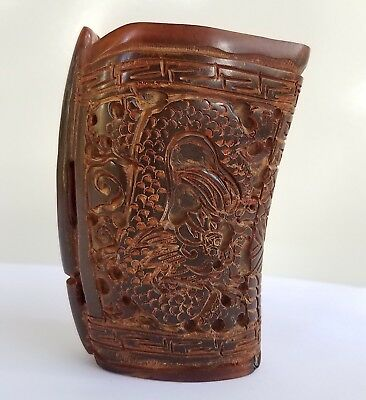 Vintage Chinese Intricately Carved Camel Bone Libation Cup