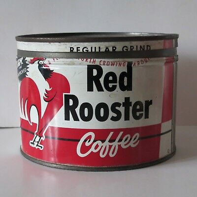 Red Rooster Coffee 1 Lb. Vintage Key-Wind Tin, Super Valu Stores, Hopkins, Mn