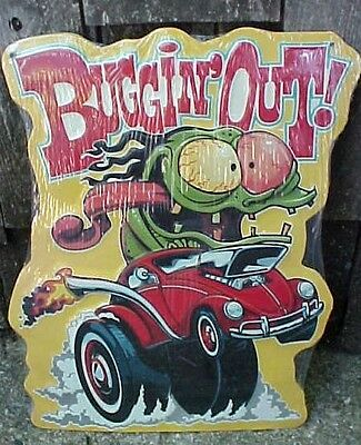 Ed Roth Style Tin Metal Monster Car Sign VW Volkswagon Beetle Bug Buggin Out