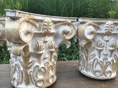 Vintage Antique Cast Iron Architectural Corinthian Capital Tops