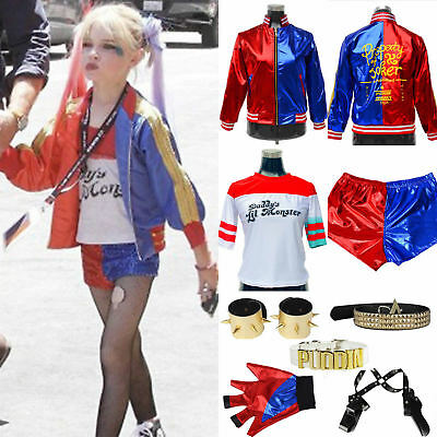 Halloween Costume Suicide Squad Harley Quinn T-shirt Jacket Coat Gloves Wigs Lot