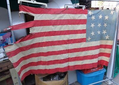 Antique Very Old Civil War Revolutionary 13 Star American Flag 6 Foot Wide Nr