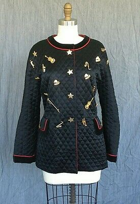 Vintage 1980s Escada All Buttoned Up Quilted Black Jacket