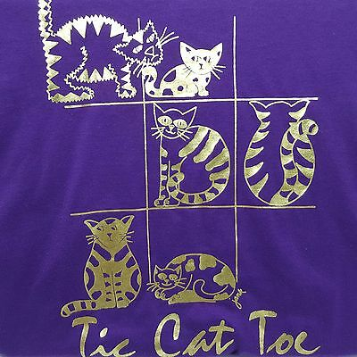 Tic Cat Toe Tshirt Screen Stars Best Vintage Purple Metallic Size XL Tac USA