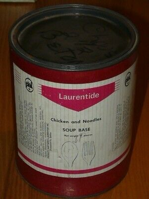 Vintage Laurentide Chicken and Noodles Soup Base Cardboard and metal can