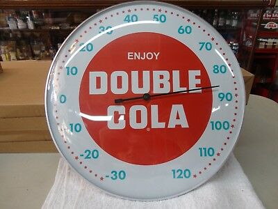 """Double Cola Soda Thermometer 12"""" Round Licensed Glass Lens Aluminum Body"""